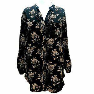 ⚡3/$18⚡ Black Long Floral Button Up Tunic Shirt